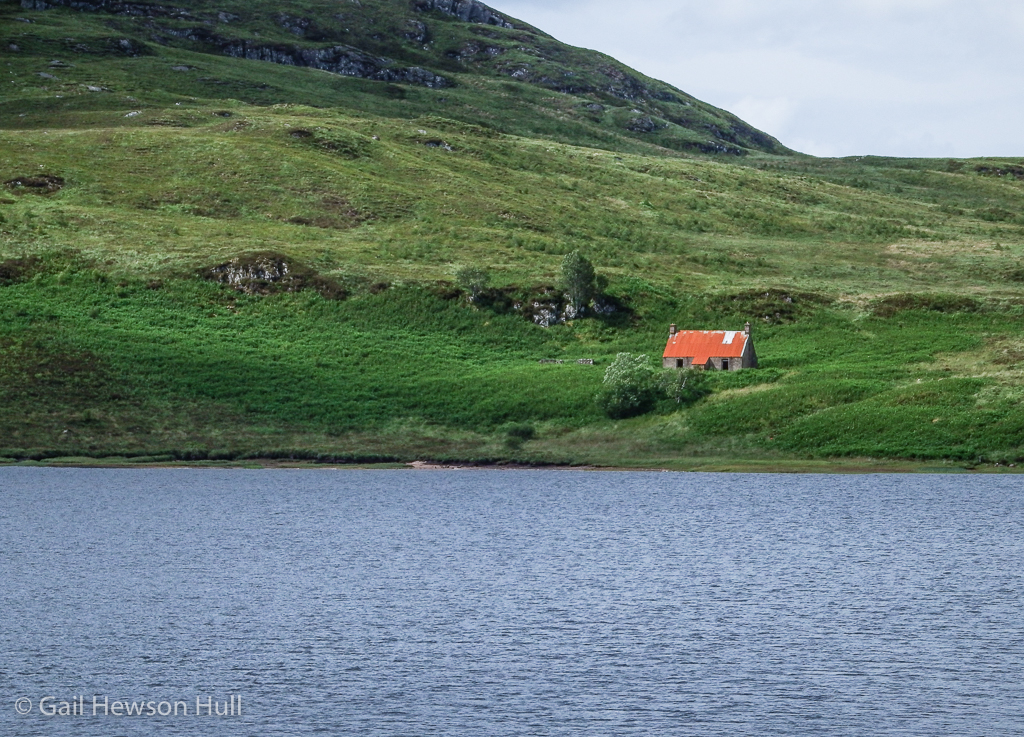 Isolated farm on loch near Ullapool.