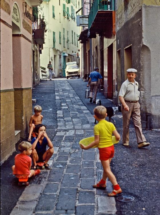 Skateboarders, Villefranche, France, 1982 (digitized from aged slide)