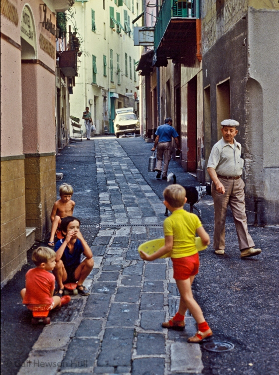 Skateboarders, Villefranche, France, 1982 (digitized from aged slide)