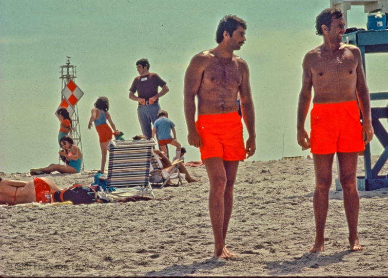 Lifeguards at Crane's Beach, Ipswich, Massachusetts, 1969 (digitized from damaged slide)