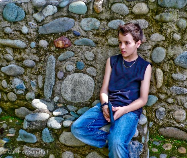 Leo, with squirt gun, Rio Negro de San Vito, Costa Rica, 2010