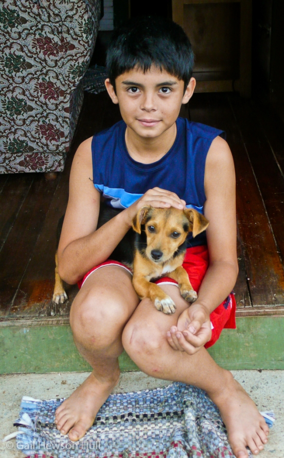 Keiner with new dog, San Vito, Costa Rica, 2010