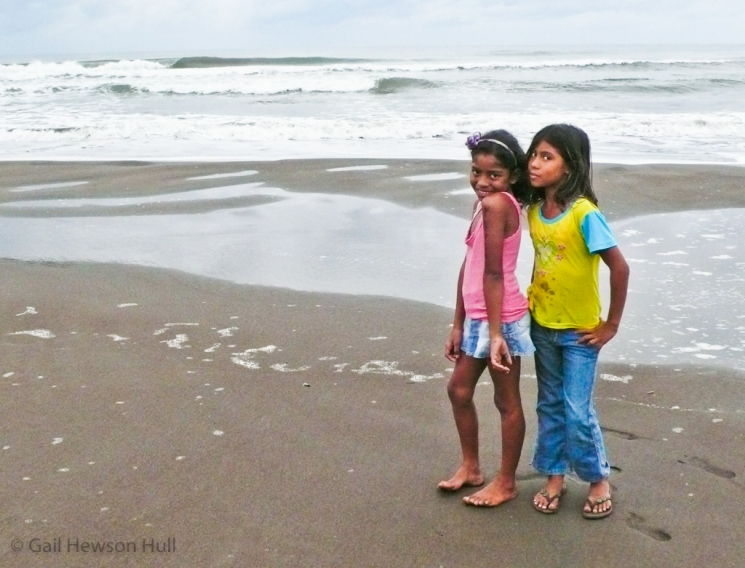 Girls on the beach at Tortuguero, Costa Rica, 2012