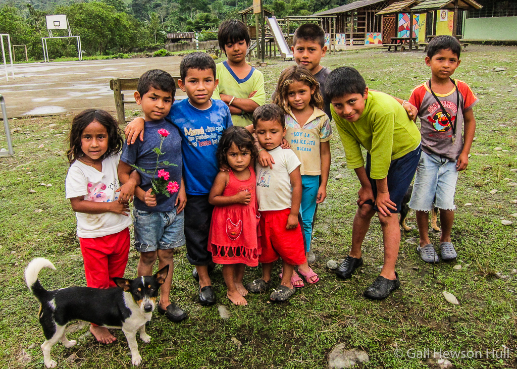 Children at the school playground in Mashpi, Ecuador, 2014