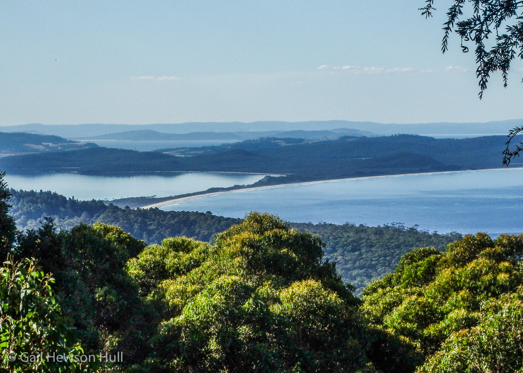 View from Mt. Magana to the Neck and North Bruny. Bruny is small island reached by ferry south of Hobart, the capital.